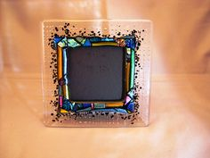 "Picture Frame - Fused glass with bubbles and lots of glittery dichroic accents for 3.5"" photo."