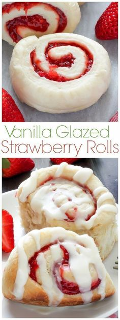 Strawberry Rolls with Vanilla Glaze and a Giveaway is part of Desserts - Sweet and Fluffy, these Strawberry Swirled Rolls are topped with an incredible Vanilla Glaze A wonderful yeast recipe for beginners! Just Desserts, Delicious Desserts, Yummy Food, Healthy Desserts, Yummy Dessert Recipes, Healthy Recipes, Healthy Chef, Sweet Desserts, Yummy Snacks