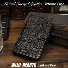 Carved with hand tools to create a beautiful floral motif! Leather Max/XR Flip Case Wallet Cover Black WILD HEARTS Leather&Silver (ID Iphone Flip Case, Iphone 6, Iphone Cases, Iphone Leather Case, Japan Post, Wallet Chain, Wild Hearts, Floral Motif, Cowhide Leather