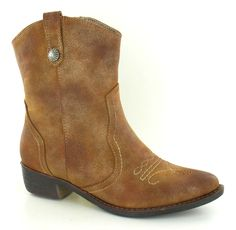SALE LADIES SPOT ON COWBOY STYLE ANKLE BOOT IN BLACK AND TAN F50172 in Clothes, Shoes & Accessories, Women's Shoes, Boots | eBay