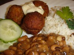 Rice, Shrimp Balls with dip, and some Black-eye Peas for New Year's Luck!