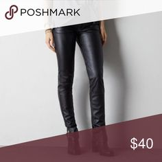 AEO Faux Leather High Rise Jegging American Eagle size 10 regular. Ankle zipper detail. Scored these in a trade but they're just not flattering on me. Perfect condition. Price is absolutely firm. Trades for ISO items only. American Eagle Outfitters Pants Skinny