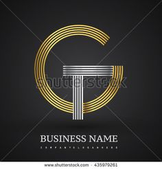 Letter GT or TG linked logo design circle G shape. Elegant gold and blue colored letter symbol. Vector logo design template elements for company identity.