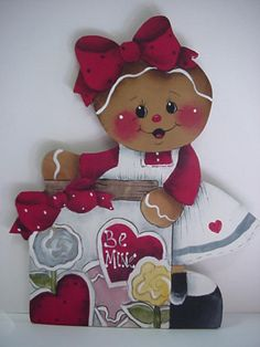 "HP~~Gingerbread Girl with Cookie Jar ""Valentines Day""  Fridge MAGNET"