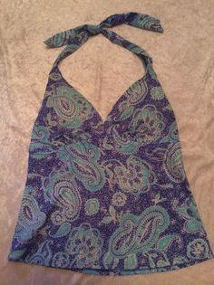 Lands End 10 Tankini Swimsuit Top Paisley Blue Pattern Womens Swim Halter #LandsEnd #TankiniTop