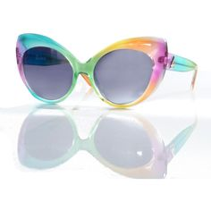 UNIF The Moody's Rainbow Alien Cateye Sunglasses ($48) ❤ liked on Polyvore featuring accessories, eyewear, sunglasses, glasses, multi, uv protection sunglasses, uv protection glasses, cateye sunglasses, logo sunglasses and cat-eye glasses