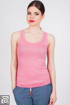 Женская брендовая майка с люрексом    ярко розового цвета. В обтяжку. Vicolo Northland. Италия