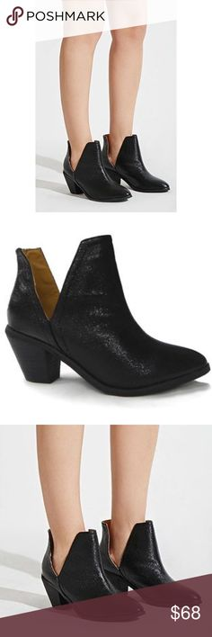 """Western Shimmer Chunky Heel Cowgirl Bootie These bootie features open side and slip on design. 2.5"""" stacked heel. Synthetic Shaft measures approximately 4.5"""" from arch Heel measures approximately 2.5 inches"""" Platform measures approximately .25"""" Sparkly shimmer cracked faux leather with glossy finish. Split topline sides. Low stacked heel provides superior comfort & slight lift. Pair skinny jeans, dresses & skirts with ease. Shaft; 11"""" circumference. Black Boutique Shoes Ankle Boots & Booties"""