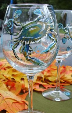 Blue Crab Wine Glass Painting