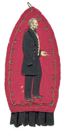 Unique Handmade Fabric Lincoln Mourning Piece (c. after 1865).  *s*