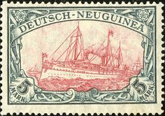 "German New Guinea 1918 Yacht, ""Hohenzollern II"" Issue [MiNr 23 II B II] 5mk Green black and red carmine - War printing - 25:17 perforation - Type III center"