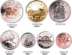 Canadian Currency: Coins. Although, to be fair, we're about to lose our one cent coin...