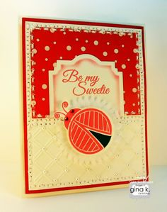 The Gina K. Designs products I used for this card are:    - Gina K. Designs Lovely Ladybugs stamp set by Beth Silaika  - Gina K. Designs Pure Luxury 120 lb. Base Weight card stock in White  - Gina K. Designs Pure Luxury 80 lb. Layering Weight card stock in White  - Gina K. Designs Pure Luxury Red Hot card stock  - Gina K. Designs Pure Luxury Poppy Prints 6 X 6 patterned paper pack    http://cardcraftyclub.blogspot.com/