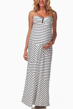 White-Black-Stripe-Print-Maternity-Maxi-Dress #maternity #fashion