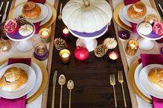 We love the unexpected colors on this table. And the gold flatware? It's got that touch of Midas.