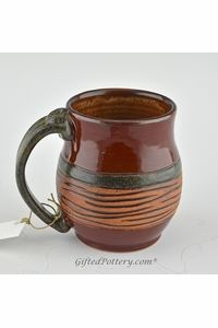 Pottery Mug with a Staying - Red with Striped Brown middle Band