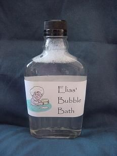 Homemade Bubble Bath  1/2 cup shampoo  3/4 cup water  1/4 teas. table salt  In a bowl, mix the shampoo and water until well combined.  Add salt and stir until it thickens slightly.  Use a funnel to pour it into a bottle.  And that's it!