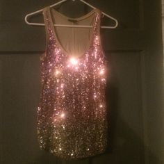 Gold sequin tank top Gold sequin tank top Express Tops Tank Tops