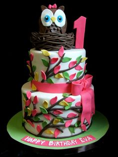 Cute Owl cake-get rid of bows and pink and do it in neutrals/earth tones...