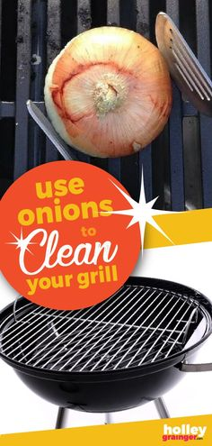 Clean your grill with an onion! Skip the abrasive chemicals and metal brushes and use the cut side of an onion to clean your grill. Learn how! Grilling Tips, Grilling Recipes, Clean Grill Grates, Grilled Watermelon, Cooking Onions, Charcoal Bbq Grill, House Cleaning Tips, Grill Cleaning, Cleaning Hacks