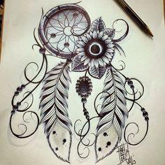 sunflower and dreamcatcher tattoo - Google Search