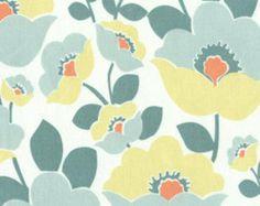 Annette Tatum Fall House Lilac Teal Free Spirit Fabric. Teal, Yellow, Orange Flowers on White Cotton. 1 Yard. Modern Cotton Print.
