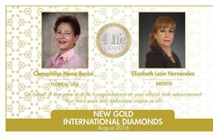 Congratulations to new Gold International Diamonds Clementina Nena Beron from Florida USA and Elizabeth León Hernández from Mexico!  #Inspiration #Motivated #toptags @top.tags #SuccessQuotes #MotivationalQuotes #Millionaire #Learn #Network #AlwaysLearning #Grind #Dedication #Ambition #Money #Hustle #BuildYourEmpire #Leadership #SelfMade #DreamBig #MillionaireLifestyle #GoodLife #Mindset #KeepGoing #DailyGrind #NeverGiveUp #Entrepreneur #LifeQuotes #StartUpLife #Marketing #Motivation…