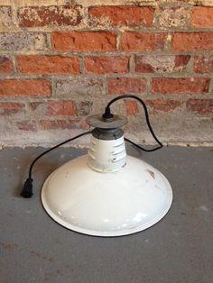 1940s Porcelain Enamel White Pendant Light. Prof rewired with female plug end. Fantastic industrial kitchen or dining room hanging lamp.