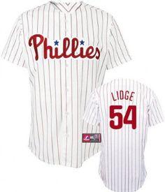MLB Philadelphia Phillies Brad Lidge White/Scarlet Pinstripe Short Sleeve 6 Button Synthetic Replica Baseball Jersey Spring 2012 Men's --- http://www.pinterest.com.mnn.co/49z