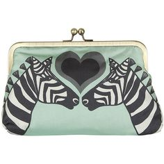 Su Owen Design Silk Clutch Bag - 'Zebras' ($76) ❤ liked on Polyvore featuring bags, handbags, clutches, green, kiss-lock handbags, kiss clasp purse, kiss lock purse, green clutches and zebra print handbags