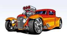 Cartoon Hot Rods Illustrations | Inspiration: Hot Vector Vehicles | Vectortuts+