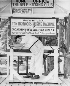 Have you ever done something so dumb you wanted to kick yourself? Well Tom Haywood invented a machine that would do just that! Today's #ThrowbackThursday is a picture of Haywood and his kicking machine at Croatan in 1953. #TBT