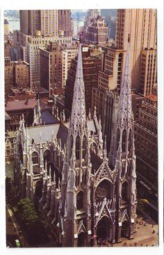Vintage photo of St. Patrick's Cathedral, 50th Street and 5th Avenue, across the street from Rockefeller Center and Saks Fifth Avenue. Manhattan, New York City. www.RevWill.com