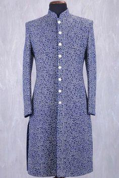 Blue & Silver Georgette Zari Embroidered IndoWestern Sherwani-IW980