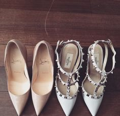 classic nude pumps: Valentino Rockstud and Louboutin pumps