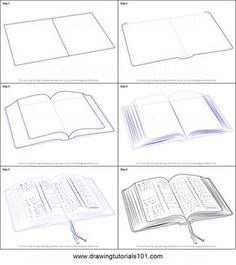 sketches step by step How to Draw an Open Book printable step by step drawing sheet drawing tutorials 101 - Drawing Tutorial Drawing Skills, Drawing Lessons, Drawing Techniques, Drawing Tips, Drawing Sketches, Art Lessons, Painting & Drawing, Sketching, Drawing Drawing