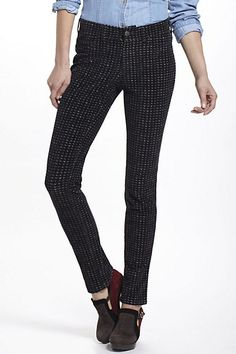 Pilcro Serif Printed Corduroy Legging - Anthropologie.com  Love the Stevie Corduroy pants (have these and a rust colored pair. Very comfortable - Would not wear pair them with a tucked in jean shirt like this though.