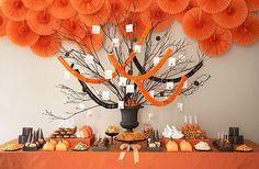 Table de mariage orange et noir