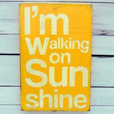 Walking on Sunshine now featured on Fab. 13PumpkinsFun Text-Based Painted Signs  Designed by Marrianne Williams in Lincoln, Nebraska, this line of hand-painted signs from 13Pumpkins is full of wisdom, wit and wonderful fonts. Fill your house with whichever piece suits you best or buy one for that special someone.
