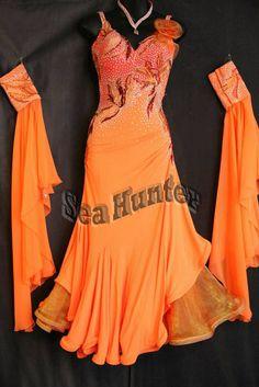 Ballroom Standard Smooth Tango Waltz Quickstep US4 Dance Dress#B3371Orange #seahunter