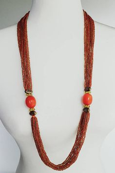 Vintage 70's Long Butterscotch Amber Bakelite and Glass Seed Bead Multi Strand Necklace