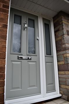 Solidor Ludlow 2 in Painswick Grey, chrome hardware and Victorian Glass Front Door Porch, Front Doors With Windows, Front Porch Design, House Front Door, Home Door Design, Grill Door Design, 1930s House Exterior, Front Door Hardware, Victorian Front Doors