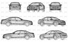 Vector drawing of wireframe design of modern and luxury car