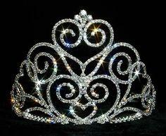 #12551 Victorian Heart Tiara Small  Rhinestone Jewelry Corporation