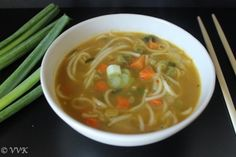 Thupka - Vegetarian Noodle Soup - A kid's friendly less spicy vegetable noodle soup perfect for lunch box.