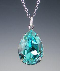 Rhinestone Necklace Light Turquoise Swarovski Sterling Silver Aqua Teal Wedding Jewelry Bridesmaid Jewelry. $22.00, via Etsy.