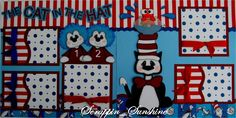 Cat in the Hat - Dr Seuss - Premade Scrapbook Pages w/ Paper Piecings - SSFF. $34.99, via Etsy.