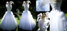 'Swan Princess' dress by Vanessa: Feathers, crystals & sequins