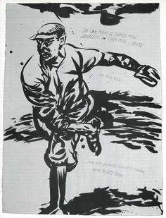 Raymond Pettibon, No Title (The one might), 1999, pen and ink on paper, 29¾ × 22¼ inches. Photography by Joshua White / JWPictures.com #JoshuaWhitePhotography #JWPictures #Art #Drawing #Painting #RaymondPettibon #RegenProjects #LosAngeles #Baseball