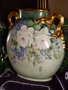 Limoges Fabulous Gold Dragon Handled Vase with White Roses and Lilacs